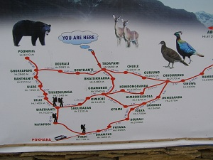 Map of Ghorepani Trek