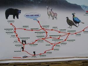 Map of Ghorepani Trek