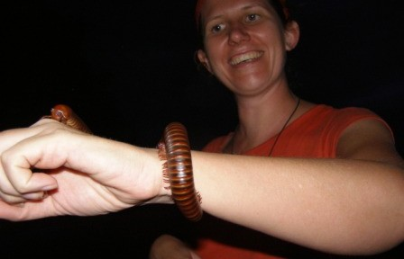 My lovely new millipede bracelet at Khao Yai National Park