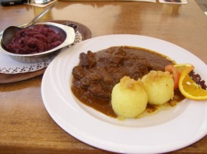 Tasting the local cusine - deer, dumplings and red cabbage