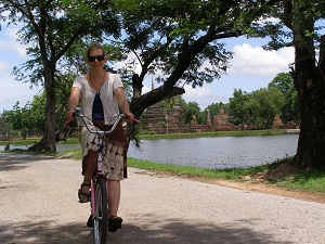 Me cycling amongst the ruins at Sukhothai
