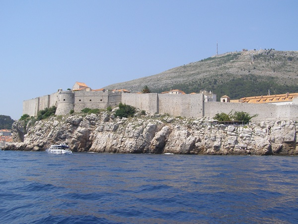 View of the Dubrovnik walls from a boat