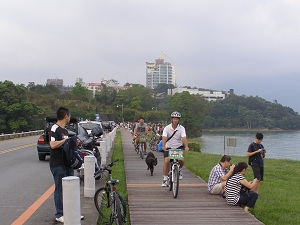 Cycling around Sun Moon Lake.  Watchout for Tourists!!!