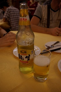 Enjoying a beer in China