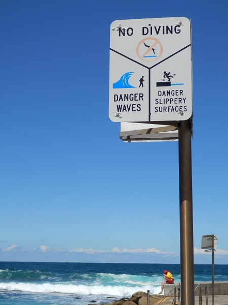 Danger Waves Sign - Bondi to Coogee Walk