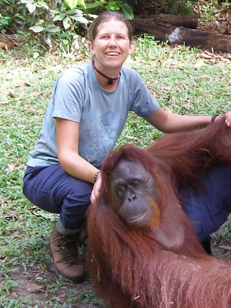 Me and Sisu at Camp Leakey for Orangutan Foundation UK