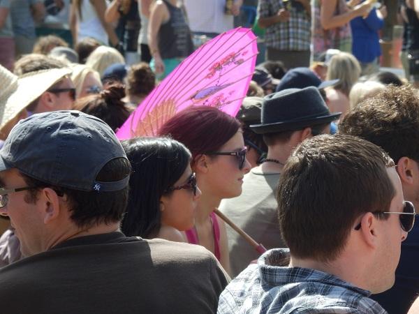 Girl holding unmbrella at Newton festival