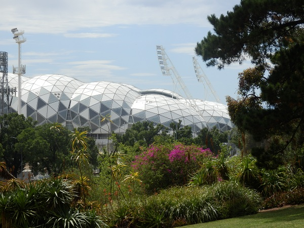 View of Melbourne Park Function Centre from Botanical Gardens