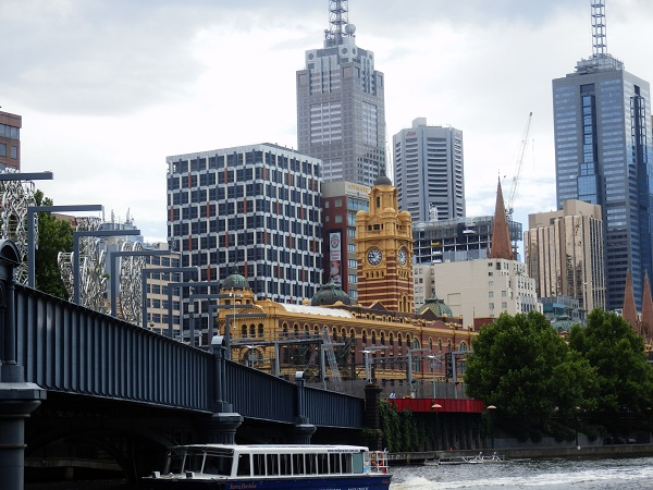 The view from Southbank, including Flinders railway station and Melbourne city skyline