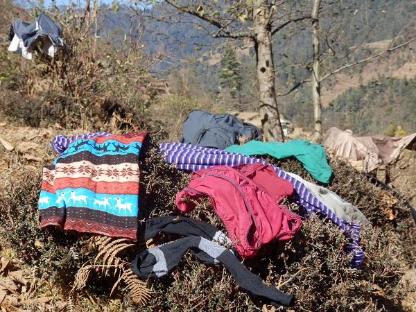 Nepal - Drying clothes on bushes