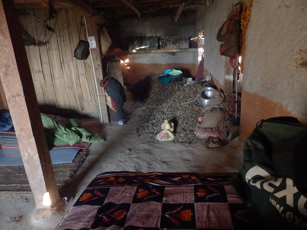 Nepal - My bed for the night, in a room full of millet