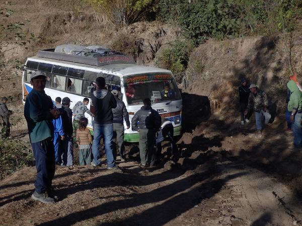 Nepal - Bus stuck in mud