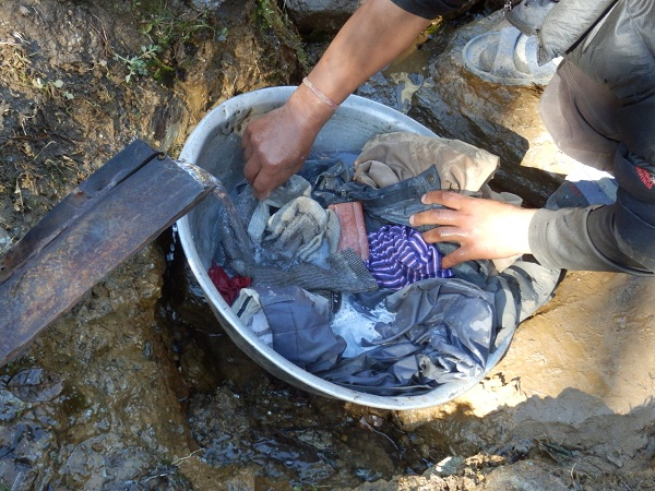 Nepal - Washing our clothes in the stream.