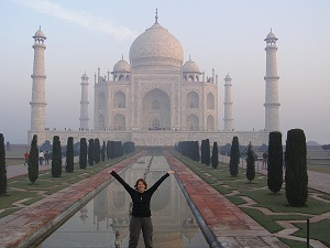 Me standing outside the Taj Mahal