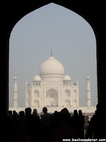Taj Mahal through the gate in shadow