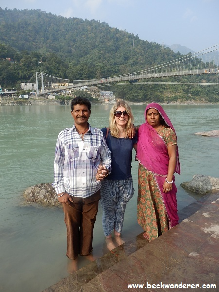 Picture of me with an Indian couple paddling in the Ganges
