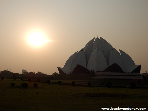 The Lotus Temple, Delhi at sunset