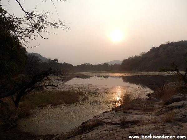 Sunset over a lake, Ranthambore National Park