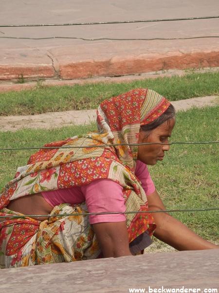 A gardener in the Taj Mahal