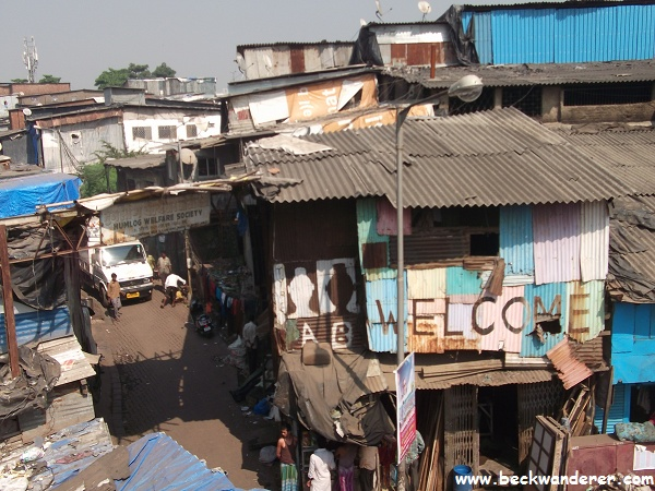 Welcome sign to Dharavi slum, Mumbai