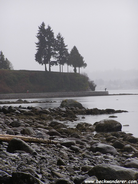 A pebbled beach on Stanley Park, Vancouver