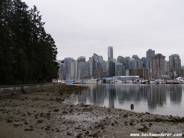 The Vancouver cityscape reflected in Coal Harbour