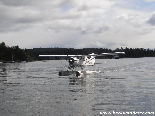 A floatplane coming into land at Salt Spring Lake