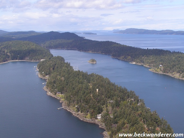 Birds eye view of the South Gulf Islands from a seaplane
