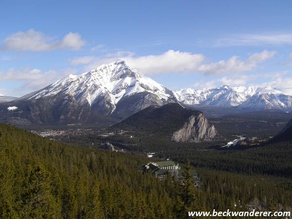 The view of the rockies from the top of Sulphur Mountain