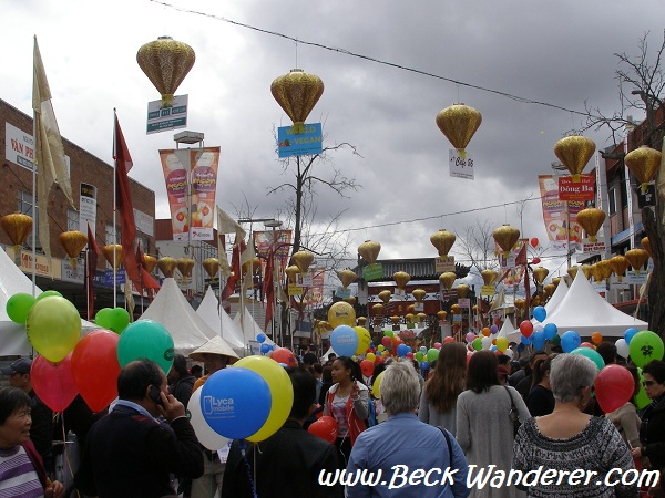 Crowds at Cabramatta Moon Festival with heaps of balloons