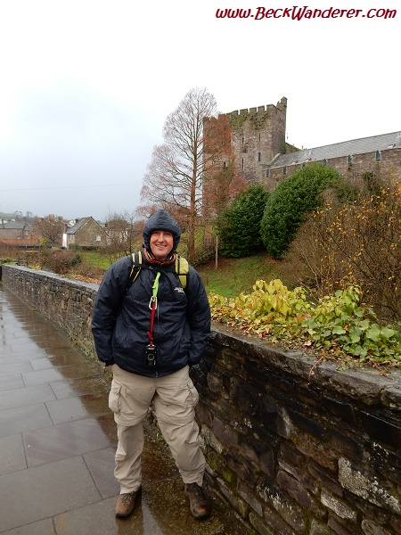 Brecon Castle in the rain