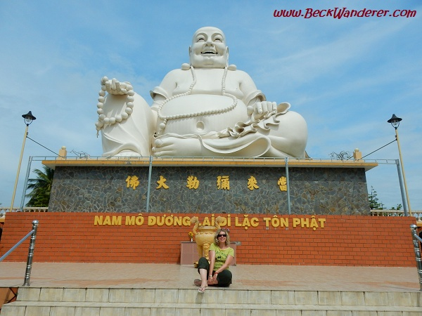 Me posing in front of a Buddha Statue, Mekong Delta