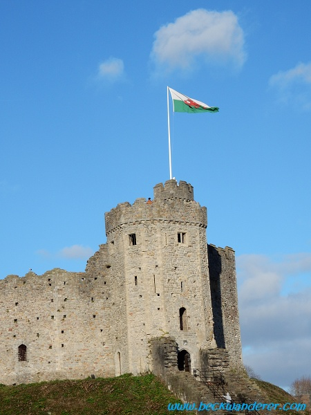 Cardiff Castle Keep with the Welsh flag flying