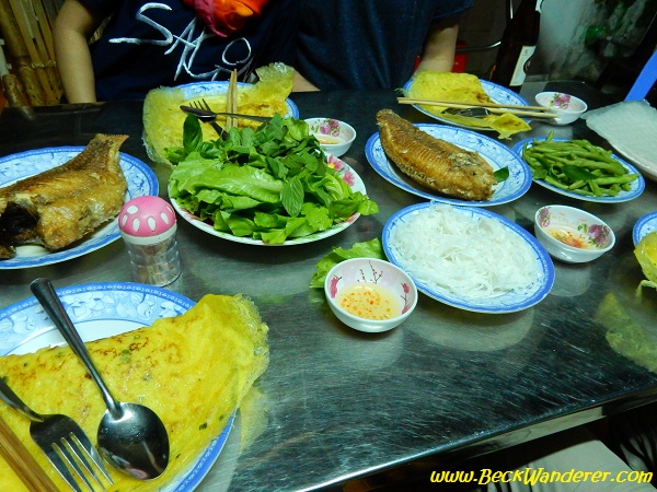 Dinner - fish, omelete, mint, lettuce, green beans, rice noodles and rice paper