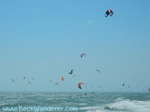 30 or more kite surfers at Mui Ne Beach, Vietnam