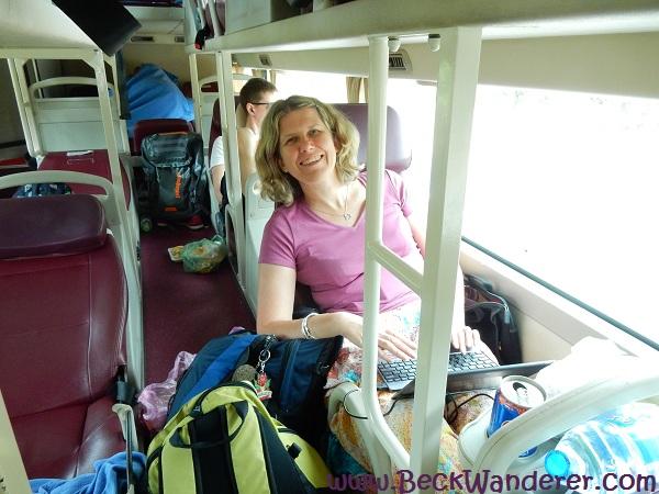 Me on the sleeper bus to Mui Ne, Vietnam