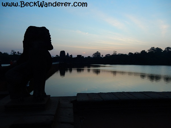Outside Angkor Wat at sunrise, Silhouette of a lion