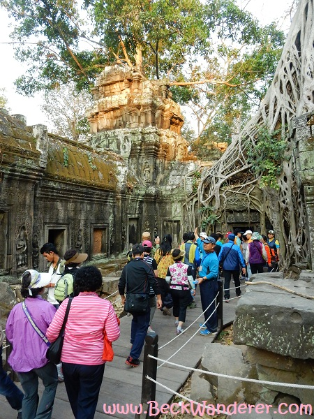Angkor Jungle / Tomb Raider Temple with all the tourists.  Cambodia
