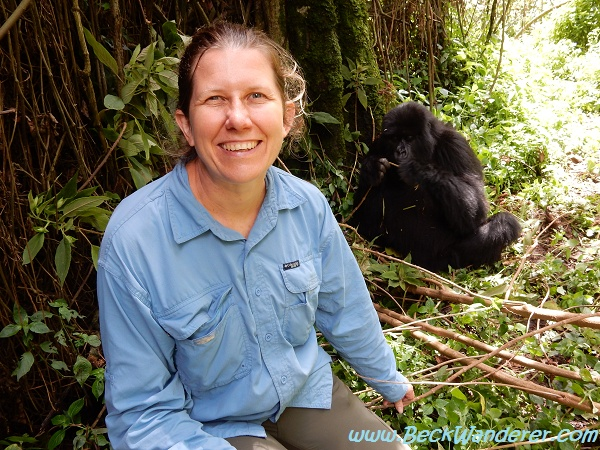 Me and a gorilla, Queen Elizabeth National Park, Rwanda