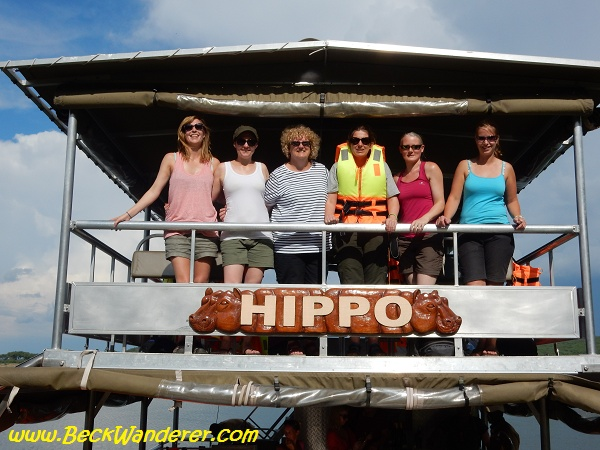 Intrepid group on a river boat, Kazinga Channel, Queen Elizabeth National Park