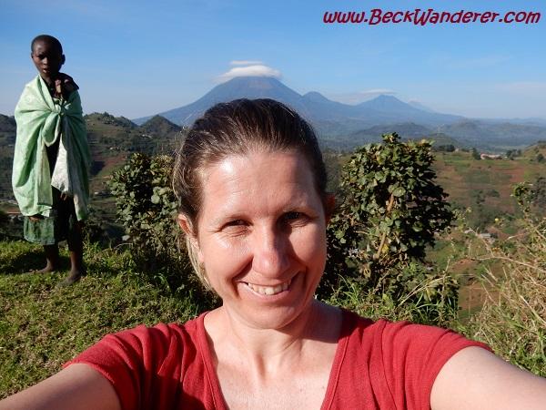 Selfie photo with volcanoes in the background, Rwanda